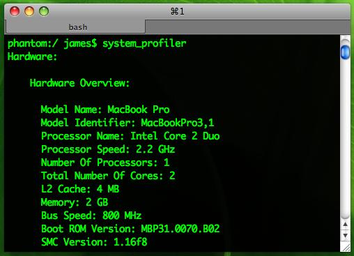 Leopard System Profiler使用截屏幕