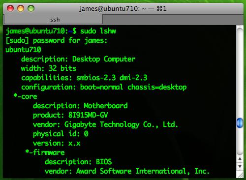 ubuntu lshw使用截屏